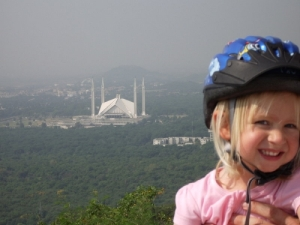 My older daughter and the Faisal mosque in Islamabad