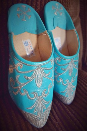 Beauitful bright blue shoes from Pakistan