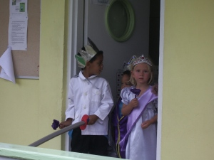 My Marguerite Queen with her king leave the classroom to lead the parade