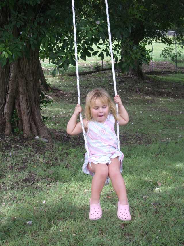 Martha on a swing in St Lucia