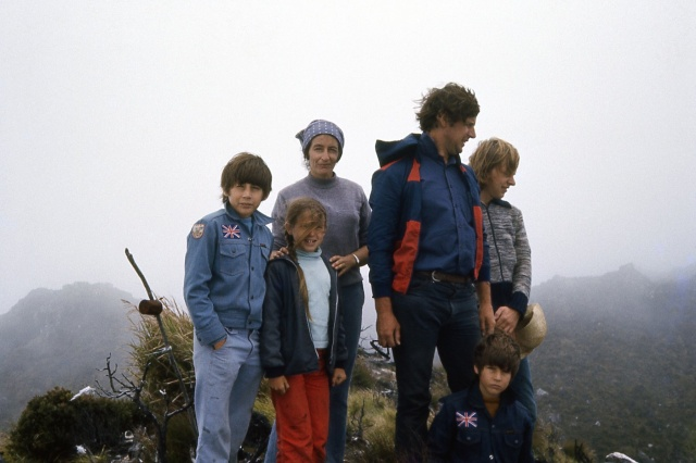 My family (plus one stranger, minus one brother) on the summit of Mount Apo, the Philippines 1977