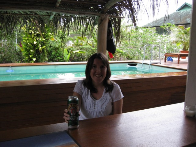 Enjoying a beer in a 'bar' – the fact that this photo is several years old shows how rare an occurrence that is in Brunei!