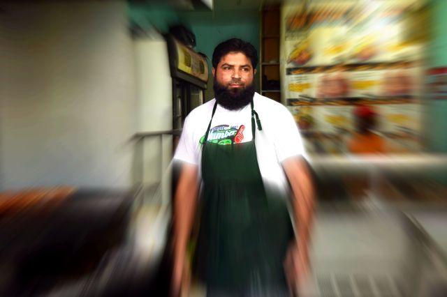 man in meat restaurant
